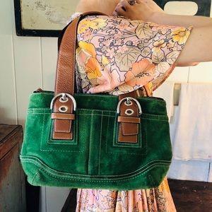 ♥️ Coach ♥️ Green Suede Shoulder Bag